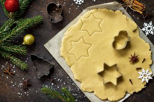 Christmas cookies background.