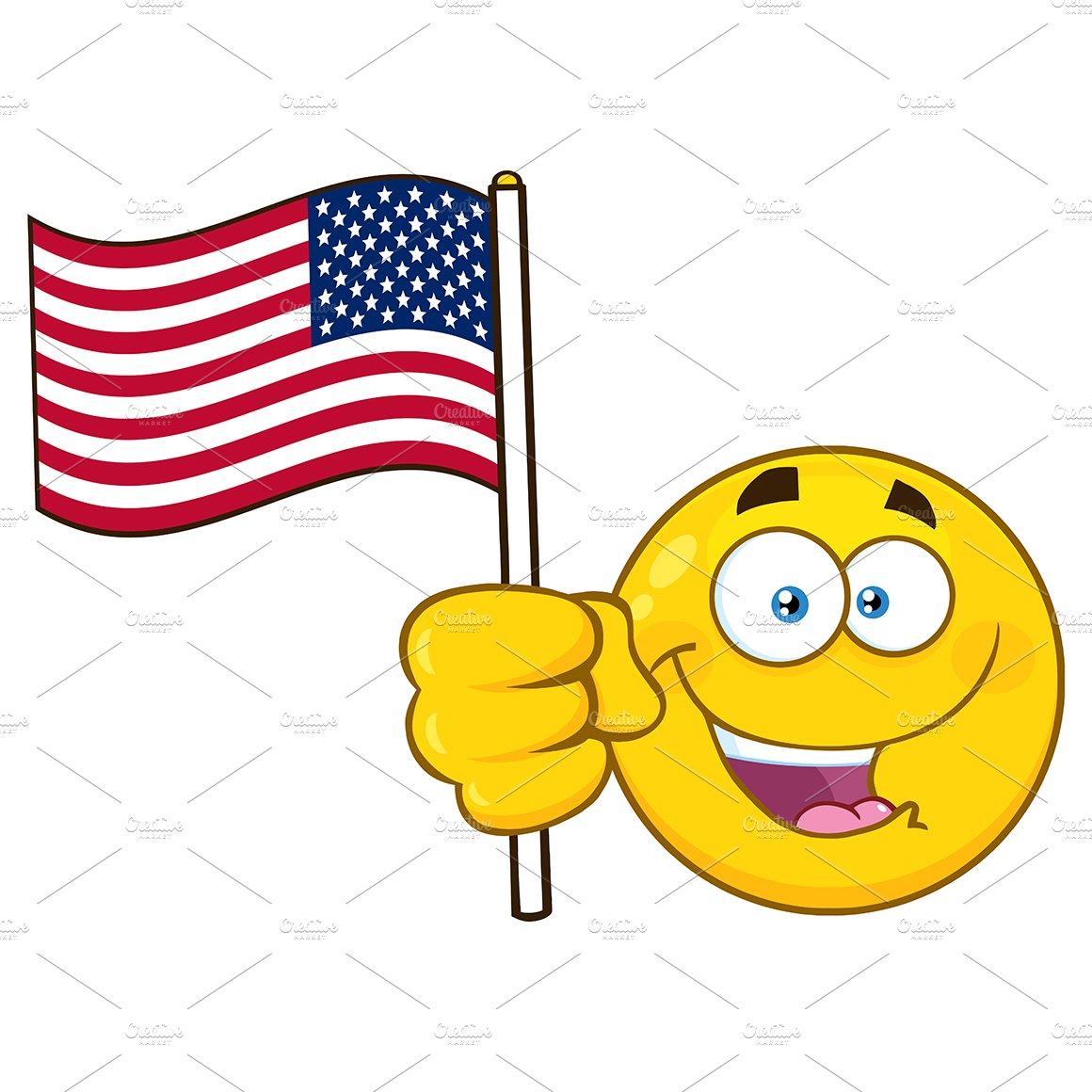 Emoji Face Waving An American Flag ~ Illustrations ...