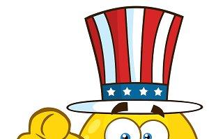 Happy Patriotic Cartoon Emoji Face