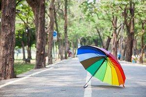 Multicolored umbrella resting