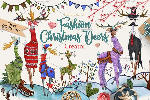 Fashion Christmas Deers Cre-Graphicriver中文最全的素材分享平台