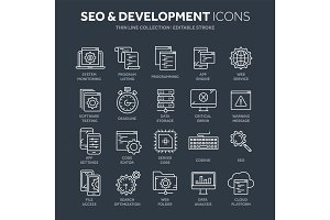 Seo and app development. Search engine optimization. Internet, e-commerce.Thin line blue web icon set. Outline icons collection. Vector illustration.