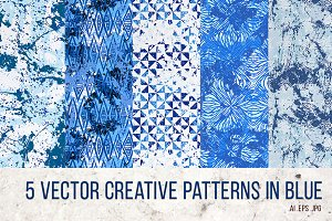 5 hand drawn vector blue patterns