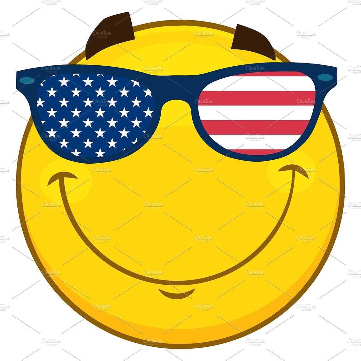 Emoji Face With USA Flag Sunglasses ~ Illustrations ...