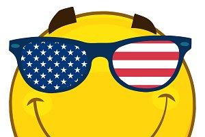 Emoji Face With USA Flag Sunglasses