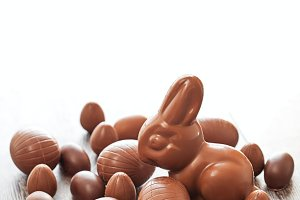 Easter chocolate eggs and bunny