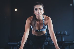 Woman in fitness gym