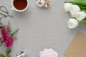 Styled photo - linen & flowers