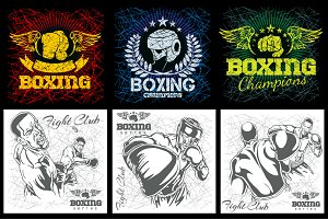 Boxing & MMA - grunge labels