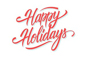 Happy Holidays hand lettering.