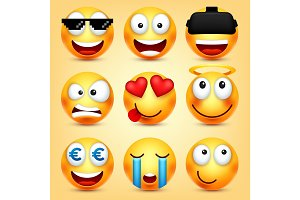 Smiley,emoticons set. Yellow face with emotions. Facial expression. 3d realistic emoji. Funny cartoon character.Mood. Web icon. Vector illustration.