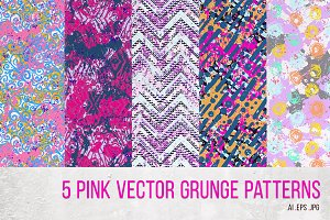 5 funky hand drawn patterns in pink