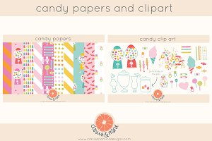 candy digital paper and clipart