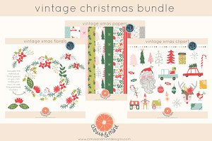 vintage christmas clipart and papers