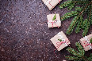 Christmas gift boxes in craft paper