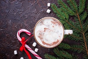 Christmas background with latte and candy cane