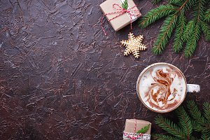 Christmas background with latte and gift boxes