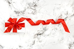Gift box red ribbon bow