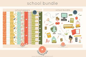 school clip art and digital papers