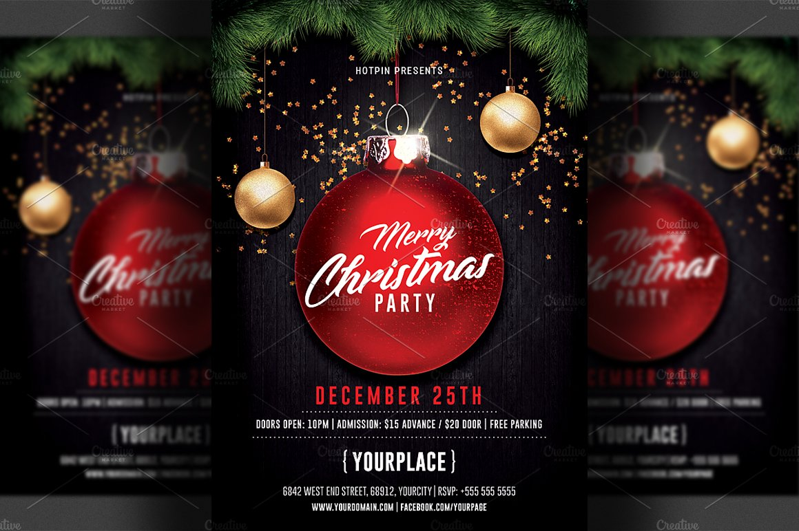 Merry Christmas Party Flyer Template Flyer Templates Creative Market