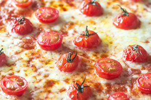 Pizza with cherry tomatoes