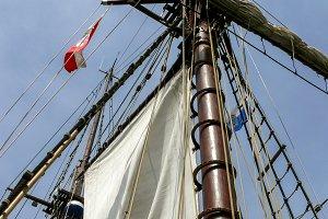 Close-up of sail and main mast