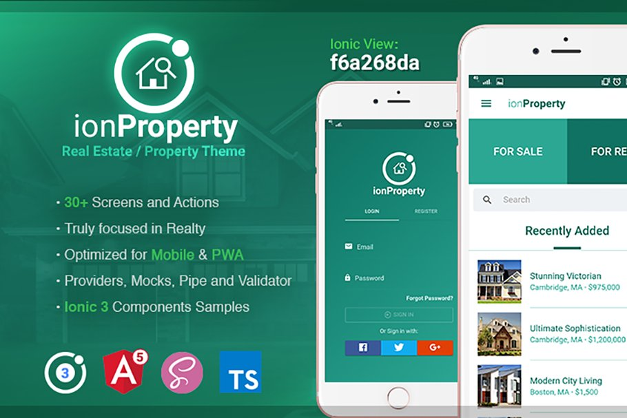 Ionic 3 Real Estate Properties Theme ~ HTML/CSS Themes