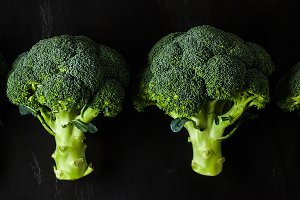 broccoli isolated on a black