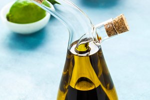 cruet with olive oil and balsamic vi