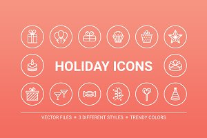 Circle holiday icons