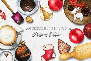 Watercolour Christmas Scene Creator