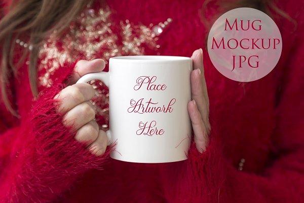 Woman holding mug -christmas mockup