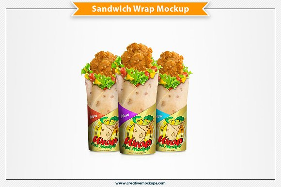 Wrap Sandwich Psd Mockup