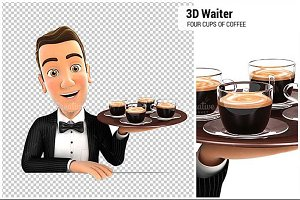 3D Waiter Four Cups of Coffee