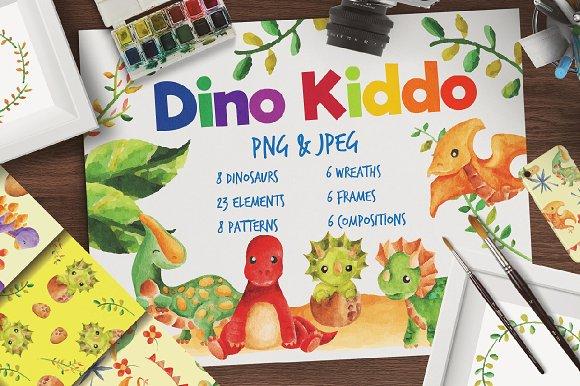 Dino Kiddo Watercolor Set-Graphicriver中文最全的素材分享平台