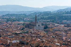 Aerial view of Florence with Santa Croce Basilica