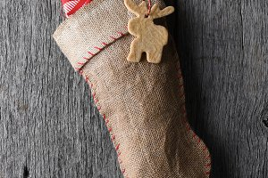 Old fashioned Burlap Christmas Stock
