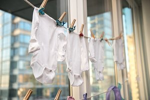 Baby kids clothes getting dry