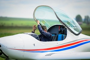 Pilot leaving the cockpit
