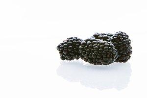 Blackberry on white background. Isolated black fruits