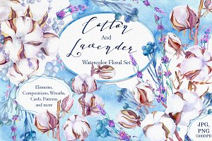 Lavender and cotton watercolor set