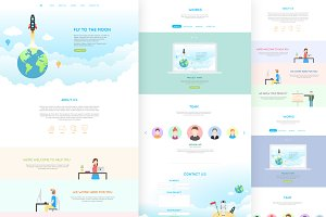Jai - Flat One Page PSD Template