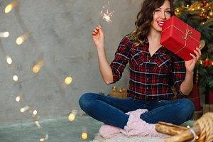 Girl and Christmas present