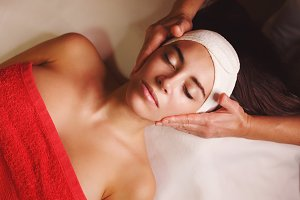 Spa treatment. Face massage