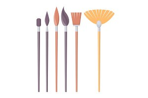 Set of Paint Brushes of Different Shapes Isolated