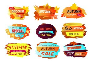Autumn Discount New Offer Vector Illustration