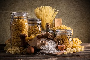 Raw pasta in jar