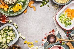 Healthy vegetarian dish preparation