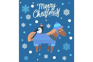 Merry Christmas Horse and Bird Vector Illustration