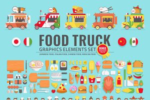 FOOD TRUCK GRAPHIC ELEMENTS MEGA SET